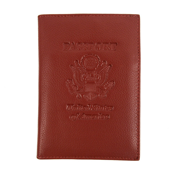 Genuine Leather American Eagle Embossed RFID-Blocking Passport Case-Burgundy-Daily Steals