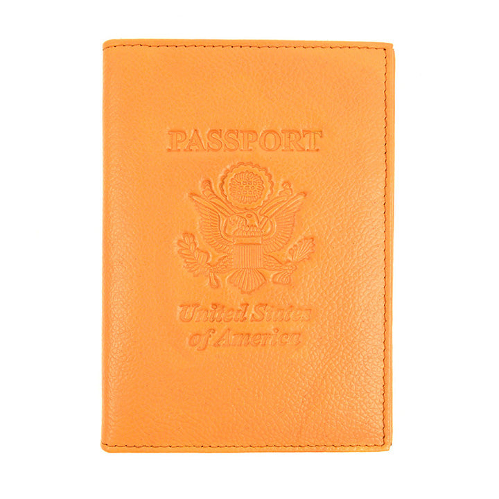 Genuine Leather American Eagle Embossed RFID-Blocking Passport Case-Yellow-Daily Steals
