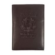 Genuine Leather American Eagle Embossed RFID-Blocking Passport Case-Dark Brown-Daily Steals