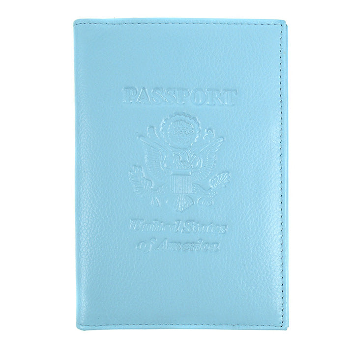 Genuine Leather American Eagle Embossed RFID-Blocking Passport Case-Ligh Blue-Daily Steals