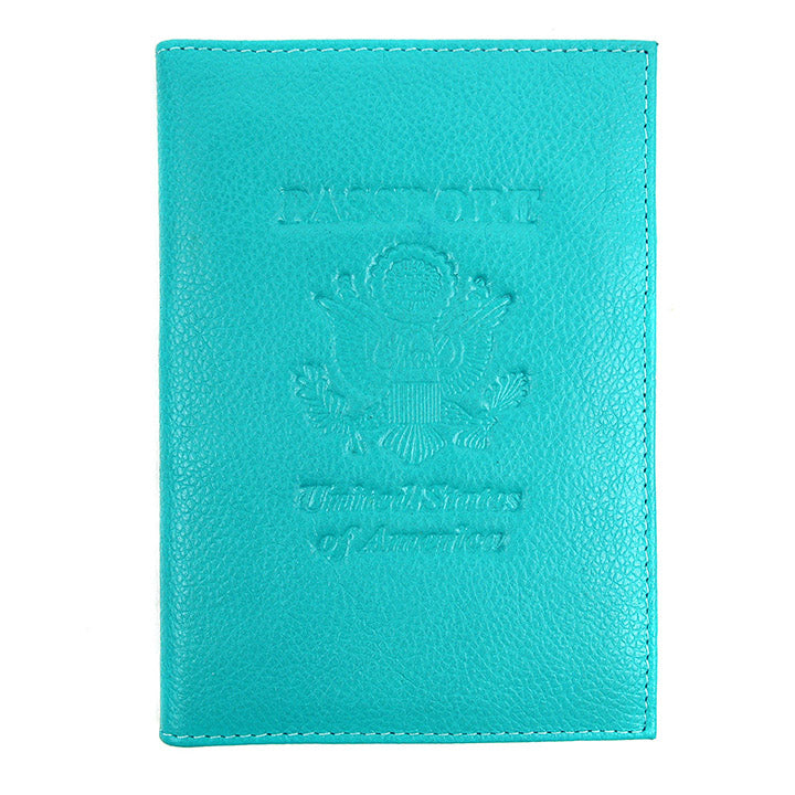 Genuine Leather American Eagle Embossed RFID-Blocking Passport Case-Turqouie-Daily Steals