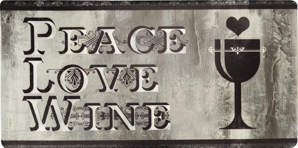 Oversized 20-Inch x 39-Inch Anti-Fatigue Embossed Floor Mat-PEACE LOVE WINE-Daily Steals