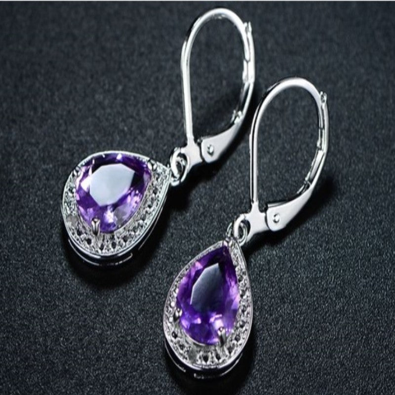 Peermont Genuine Amethyst with Diamond Accent Teardrop Earrings-Daily Steals