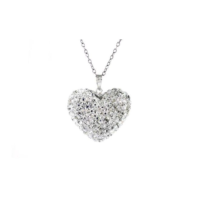 Sterling Silver Bubble Heart Pendant made with Swarovski Elements Crystals