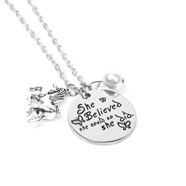 'She Believed she could so she did' Inspirational Pendant Necklace-Daily Steals
