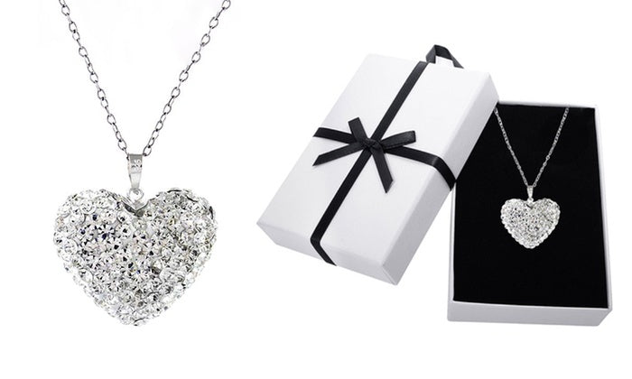 Sterling Silver Bubble Heart Pendant made with Swarovski Elements Crystals-Daily Steals