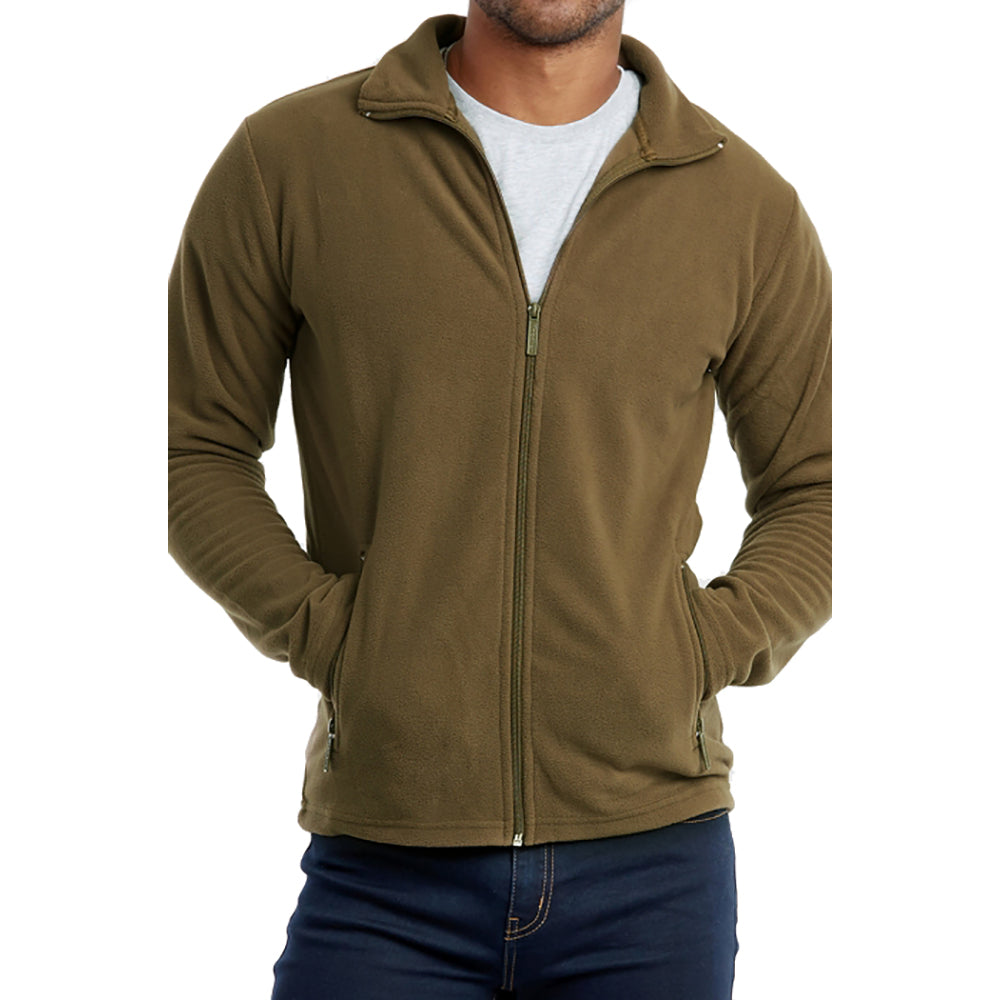 Polar Fleece Jacket with Zipper-Olive-S-Daily Steals