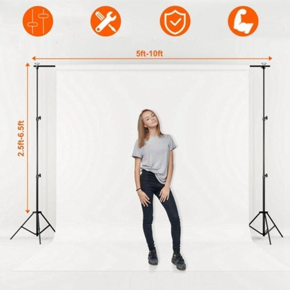 Photo/Video Studio Backdrop, Background Stand, Adjustable, 6.5' x 10'-
