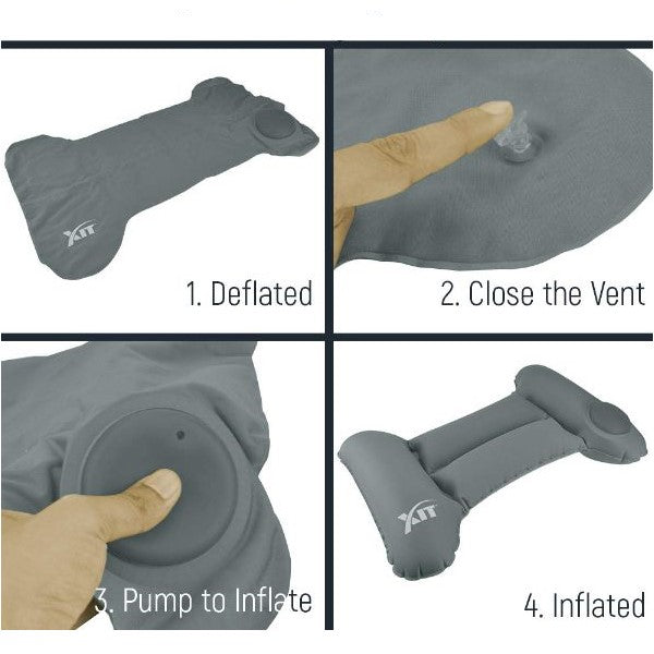 Inflatable & Portable Back Travel Pillow with Built-in Pump-Daily Steals