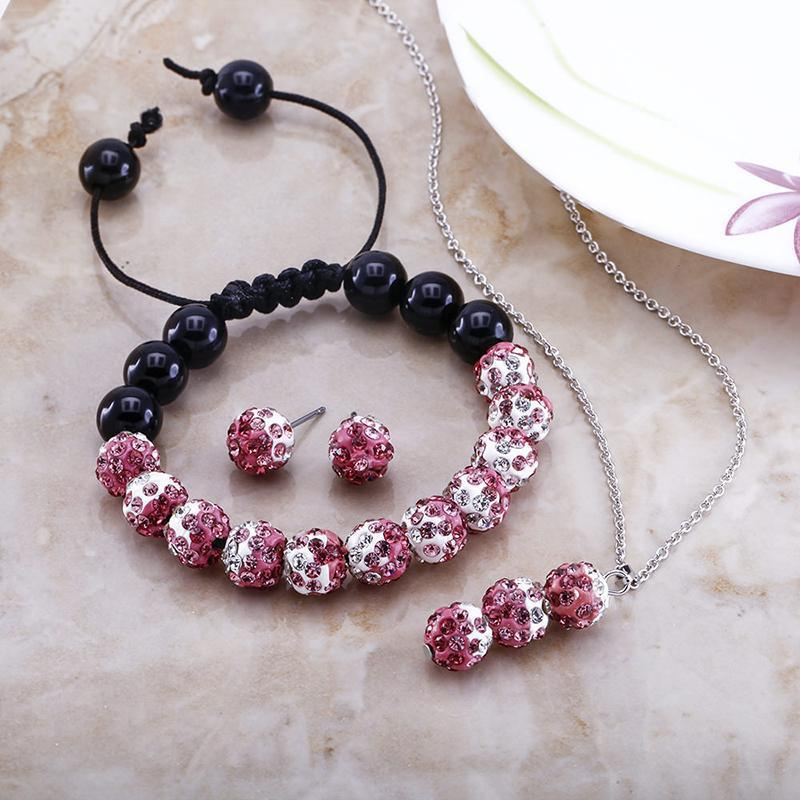 Daily Steals-Pink and White Crystal Jewelry Set-Jewelry-