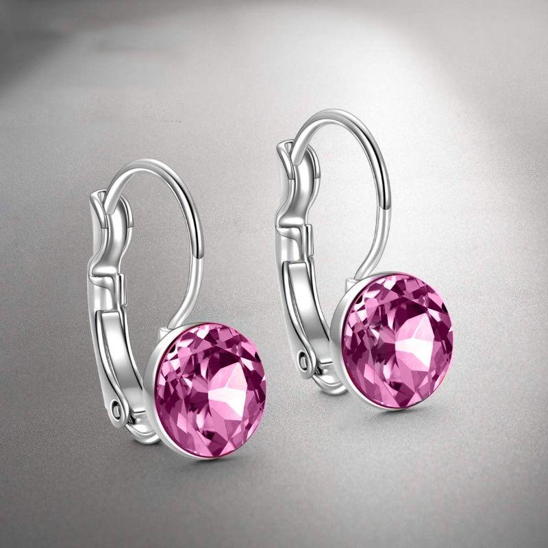"Pink Topaz Baby Leverback 0.8"" 18K White Gold Earrings Filled w/ Swarovski-Daily Steals"