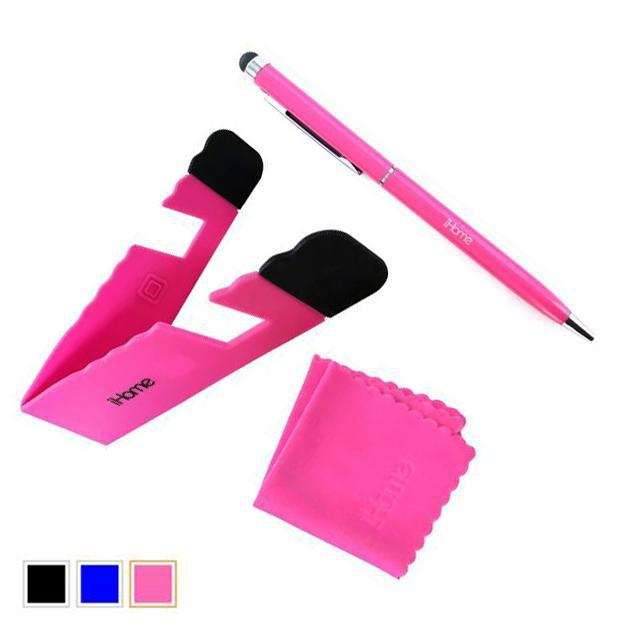 iHome Tablet and Smartphone 3-in-1 Microfiber Cloth, Stylus Pen & Stand Bundle-Pink-Daily Steals