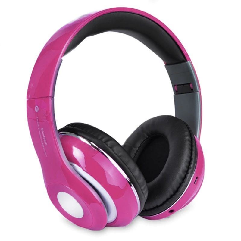 Bluetooth Wireless Headphones with Built In FM Tuner, Memory Card Slot and Mic-Pink-Daily Steals