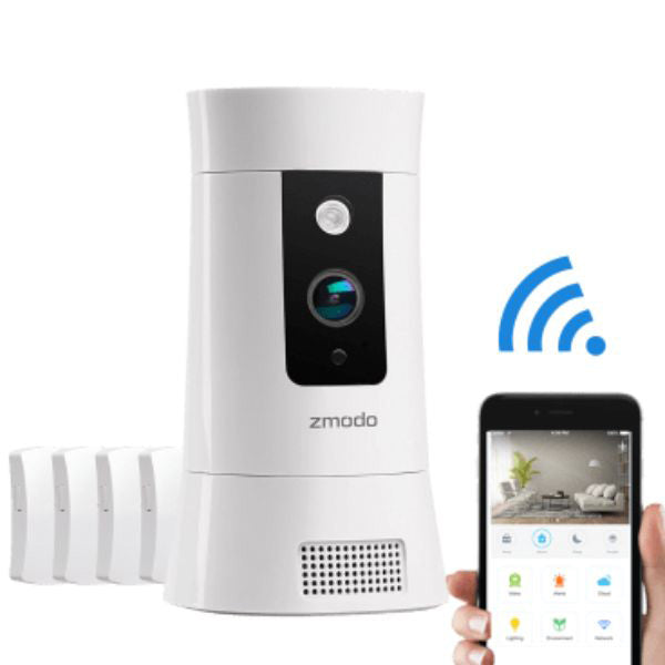 Zmodo Pivot Cloud 350° Rotating Smart WiFi Camera with Door/Window Sensors-Daily Steals