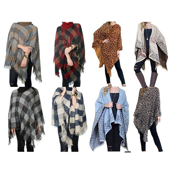 Women's Ultra-Warm Turtleneck Ponchos With Fringes - 2 Pack-Plaid & Animal-Daily Steals
