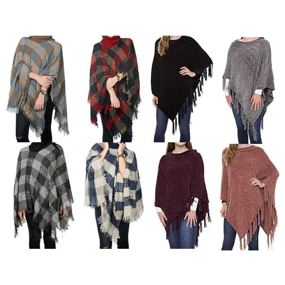 Women's Ultra-Warm Turtleneck Ponchos With Fringes - 2 Pack-Plaid & Solid-Daily Steals