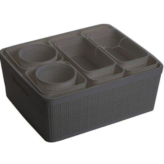 10-Pieces Plastic Woven Storage Nested Organizational Basket