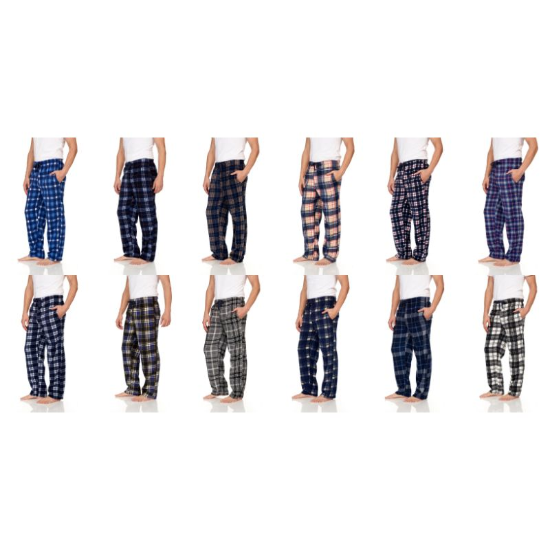 Herr Flanell Fleece Pyjama Pant Lounge Pants Assorted Colors - 3 Pack