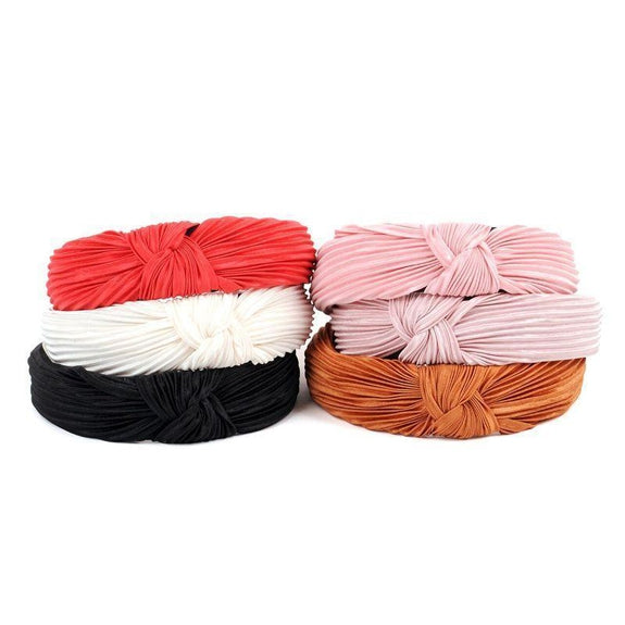 "Pleated Solid ""C"" Shaped Head Bands- 3 Pack-"