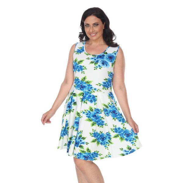 Daily Steals-Plus Floral Print 'Crystal' Dress-Women's Apparel-Blue Flowers-XL-