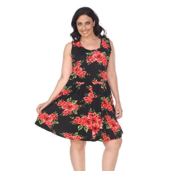 Daily Steals-Plus Floral Print 'Crystal' Dress-Women's Apparel-Black-XL-