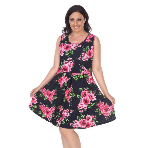 Daily Steals-Plus Floral Print 'Crystal' Dress-Women's Apparel-Navy-XL-