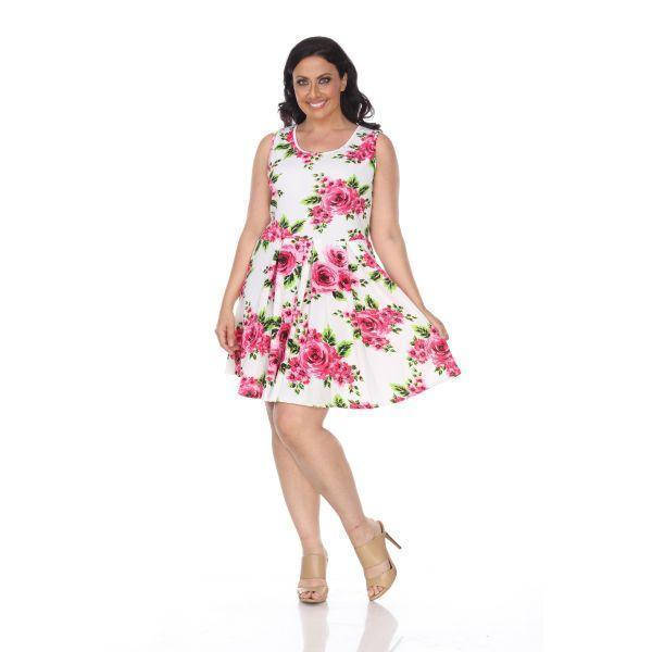 Daily Steals-Plus Floral Print 'Crystal' Dress-Women's Apparel-Pink Flowers-XL-