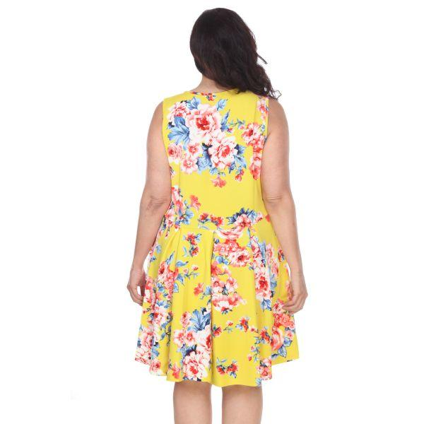 Daily Steals-Plus Flower Print 'Crystal' Dress-Women's Apparel-Yellow-XL-