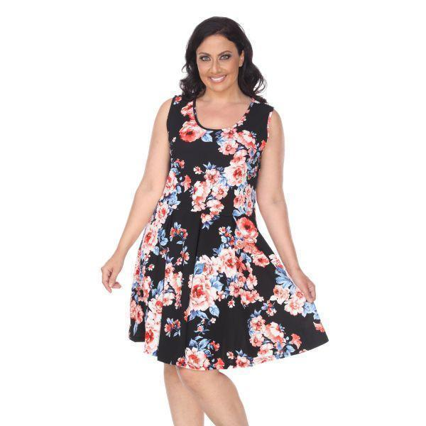 Daily Steals-Plus Flower Print 'Crystal' Dress-Women's Apparel-Black-XL-