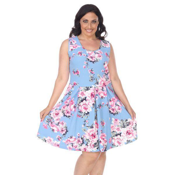 Daily Steals-Plus Flower Print 'Crystal' Dress-Women's Apparel-Light Blue-XL-