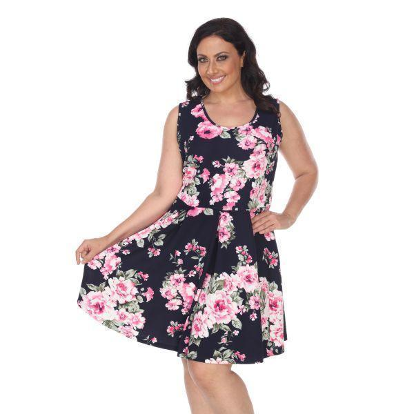 Daily Steals-Plus Flower Print 'Crystal' Dress-Women's Apparel-Navy-XL-