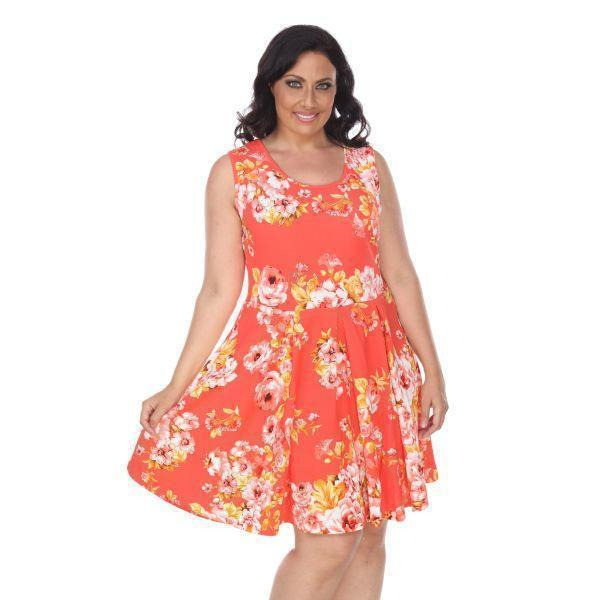 Daily Steals-Plus Flower Print 'Crystal' Dress-Women's Apparel-Orange-XL-