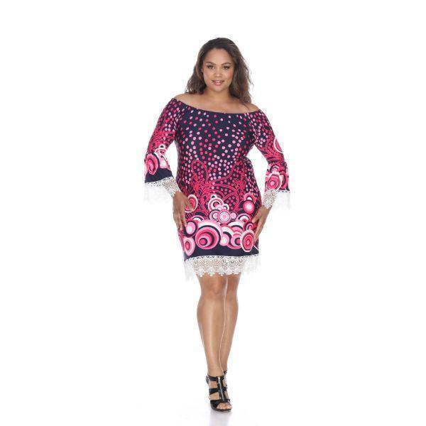 Daily Steals-Plus 'Lenora' Dress-Women's Apparel-Navy/Pink-XL-