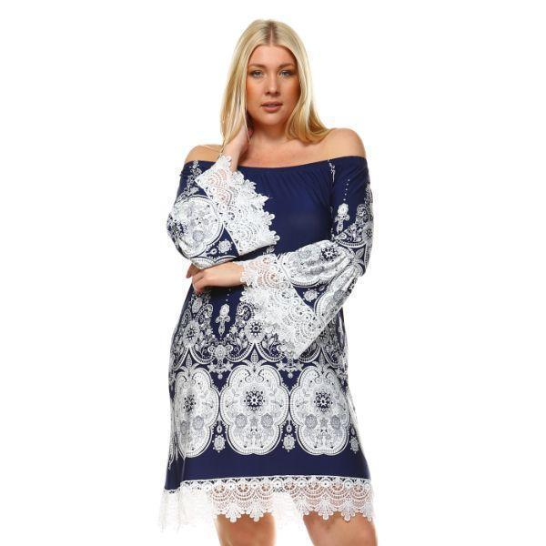 Daily Steals-Plus Size 'Mya' Dress-Women's Apparel-Navy/White-XL-