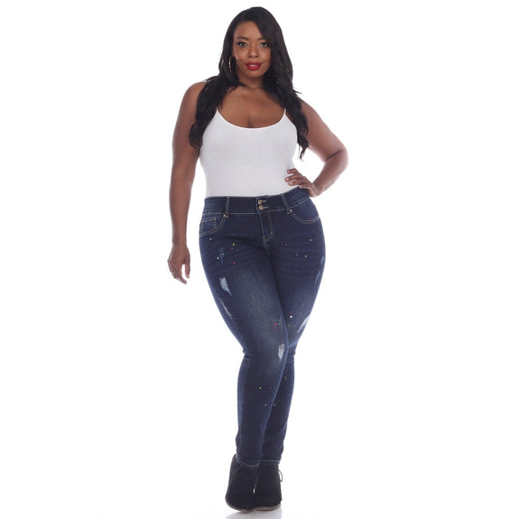 Plus Size Paint Effect Dark Blue Denim Pants-Dark Denim-16-