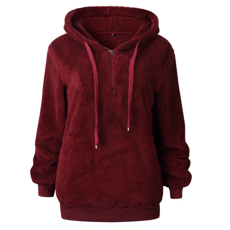 Plush Pullover Hoodie-Burgundy-Small-Daily Steals