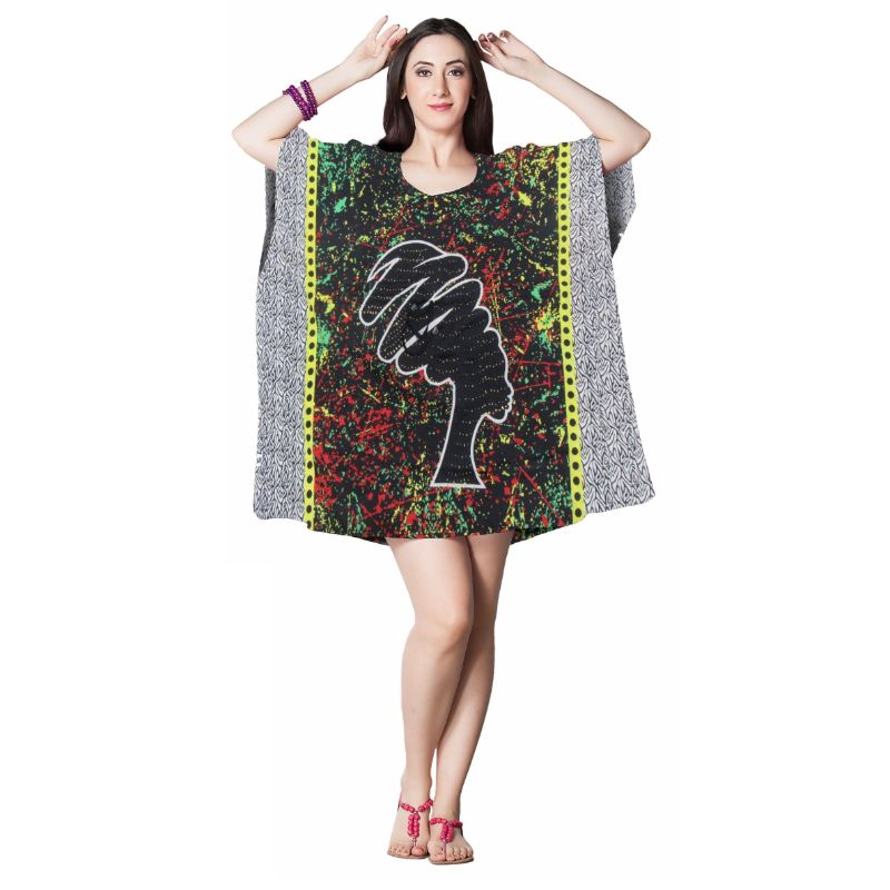 Kaftan Womens Boho Beach Dress Cover African - One Size, 4-24-MULTI-Daily Steals