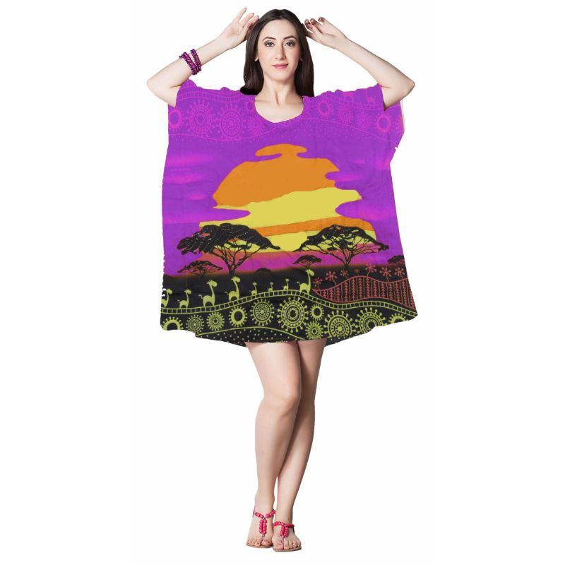 Kaftan Womens Boho Beach Dress Cover African - One Size, 4-24-PURPLE-Daily Steals