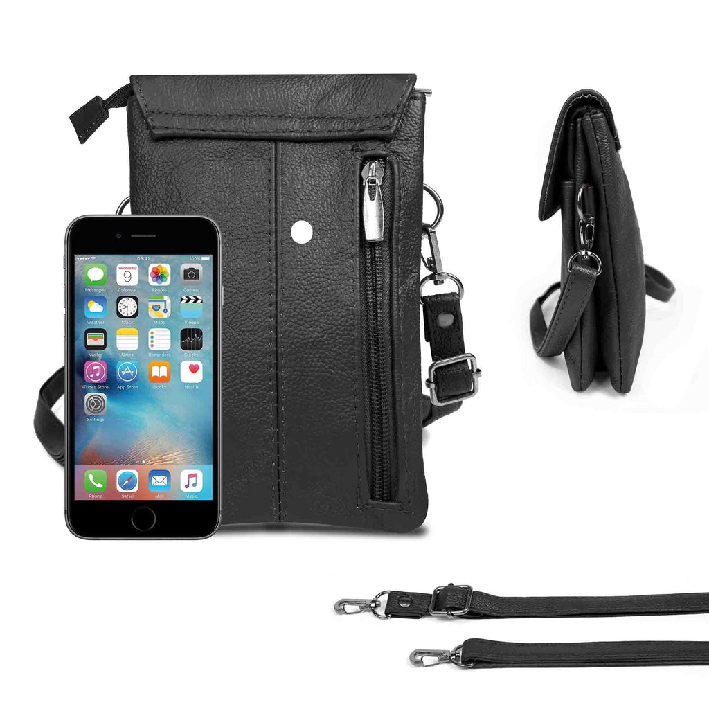 Genuine Leather Cell-Phone Cross-Body Wallet Purse-Black-Daily Steals
