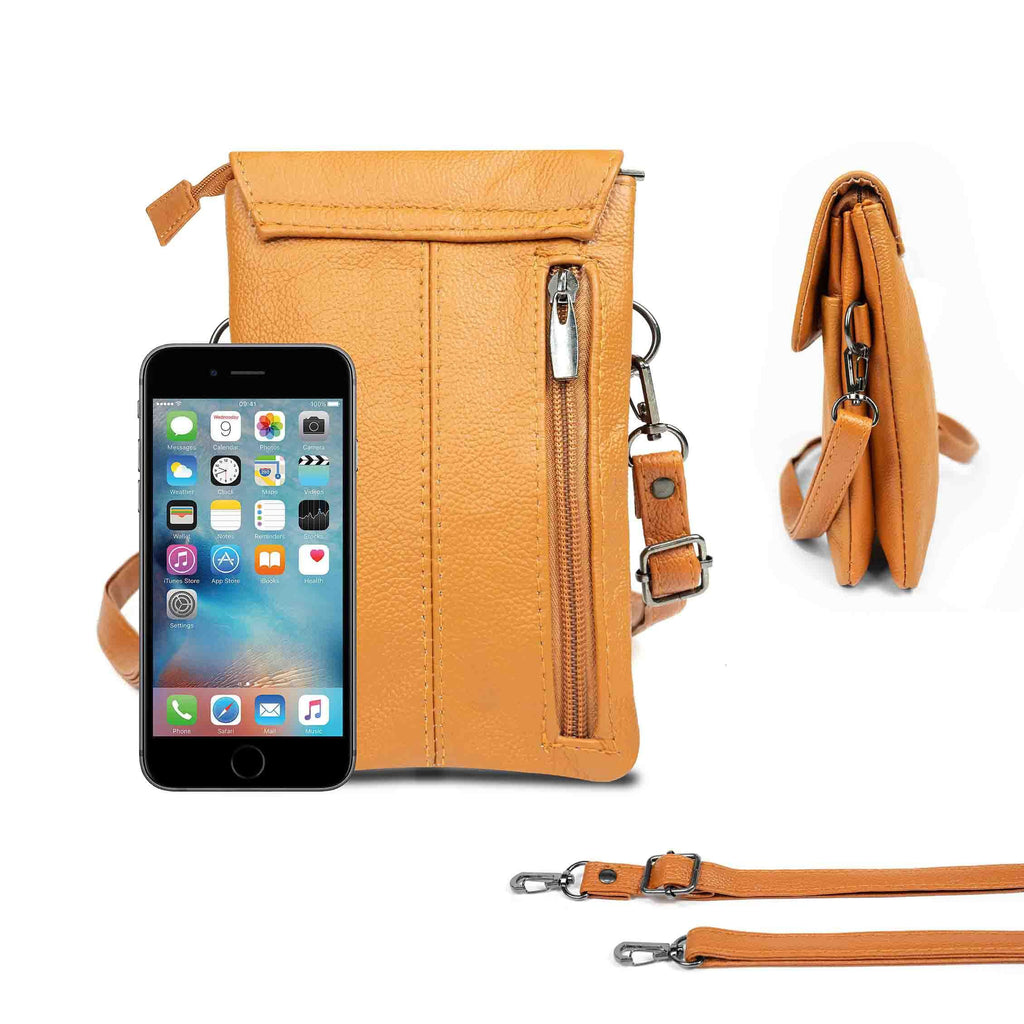 Genuine Leather Cell-Phone Cross-Body Wallet Purse-Light Brown-Daily Steals