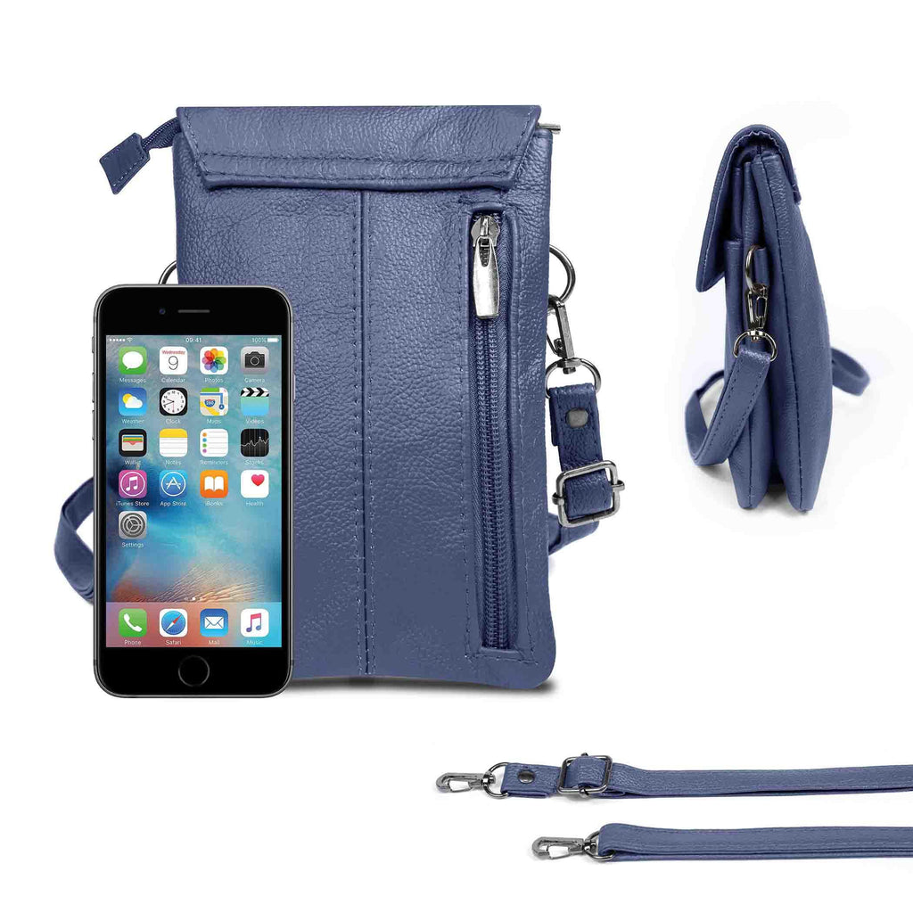 Genuine Leather Cell-Phone Cross-Body Wallet Purse-Navy-Daily Steals