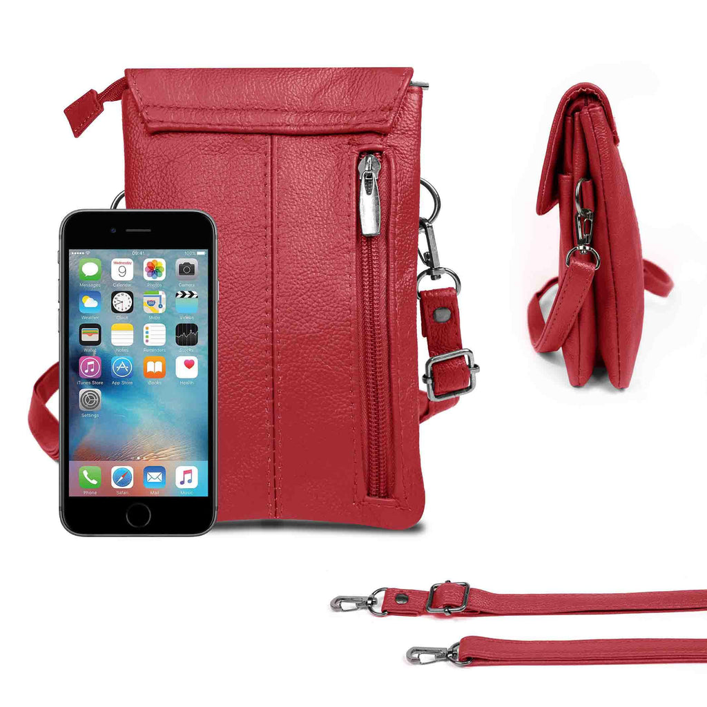 Genuine Leather Cell-Phone Cross-Body Wallet Purse-Wine-Daily Steals