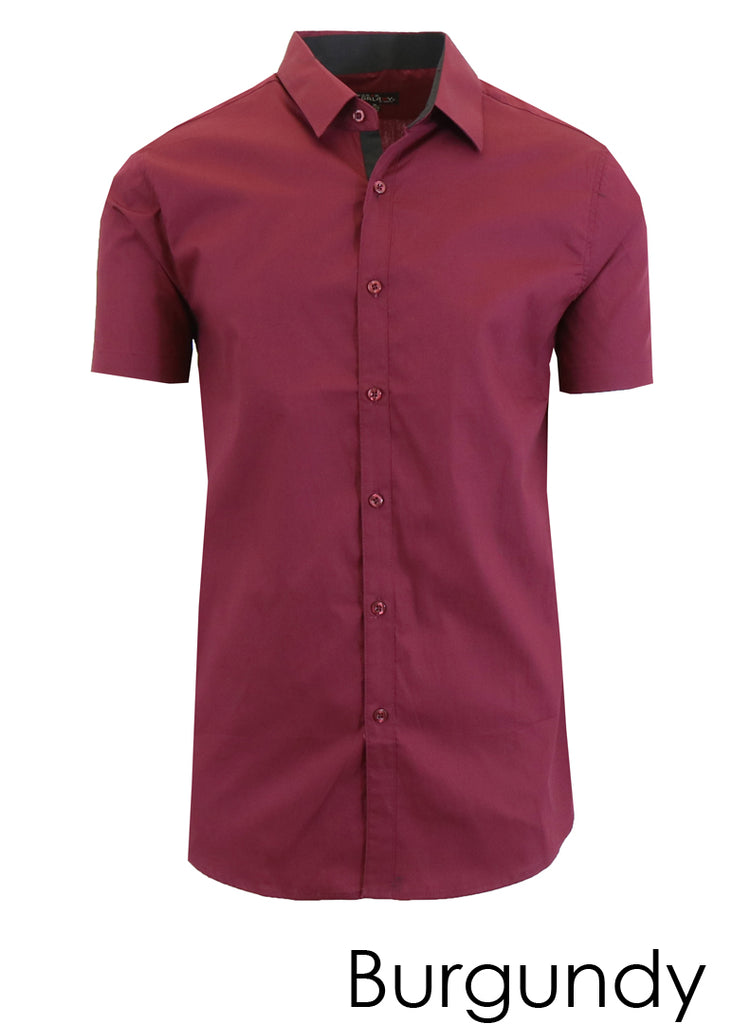 Men's Short Sleeve Down Dress Shirts With Solid Button - 9 Colors