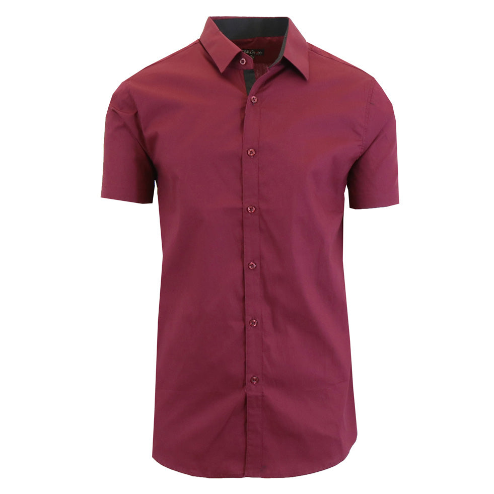 update alt-text with template Daily Steals-Men's Short-Sleeve Solid Button-Down Shirts-Men's Apparel-Burgundy-S-