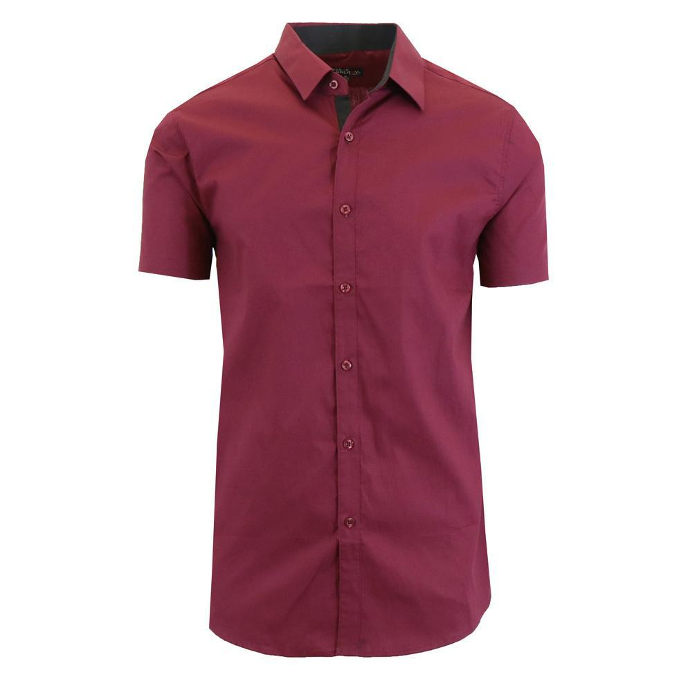 Men's Short-Sleeve Solid Button-Down Shirts-Burgundy-S-Daily Steals
