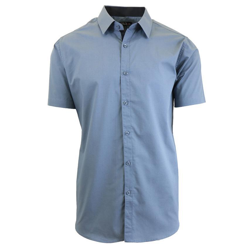 Men's Short-Sleeve Solid Button-Down Shirts-Grey-S-Daily Steals