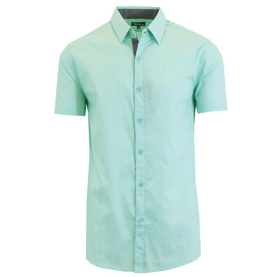 Men's Short-Sleeve Solid Button-Down Shirts-Mint-S-Daily Steals