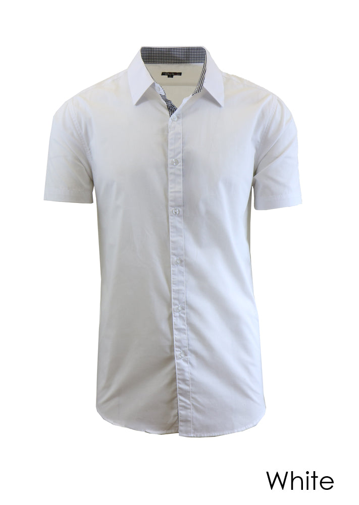 Men's Short-Sleeve Solid Button-Down Shirts-Daily Steals
