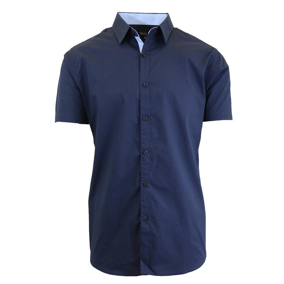 Men's Short-Sleeve Solid Button-Down Shirts-Navy-S-Daily Steals
