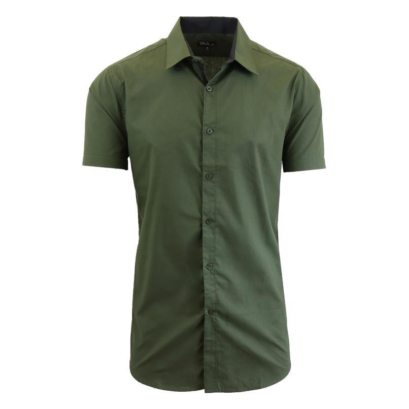 Men's Short-Sleeve Solid Button-Down Shirts-Olive-S-Daily Steals